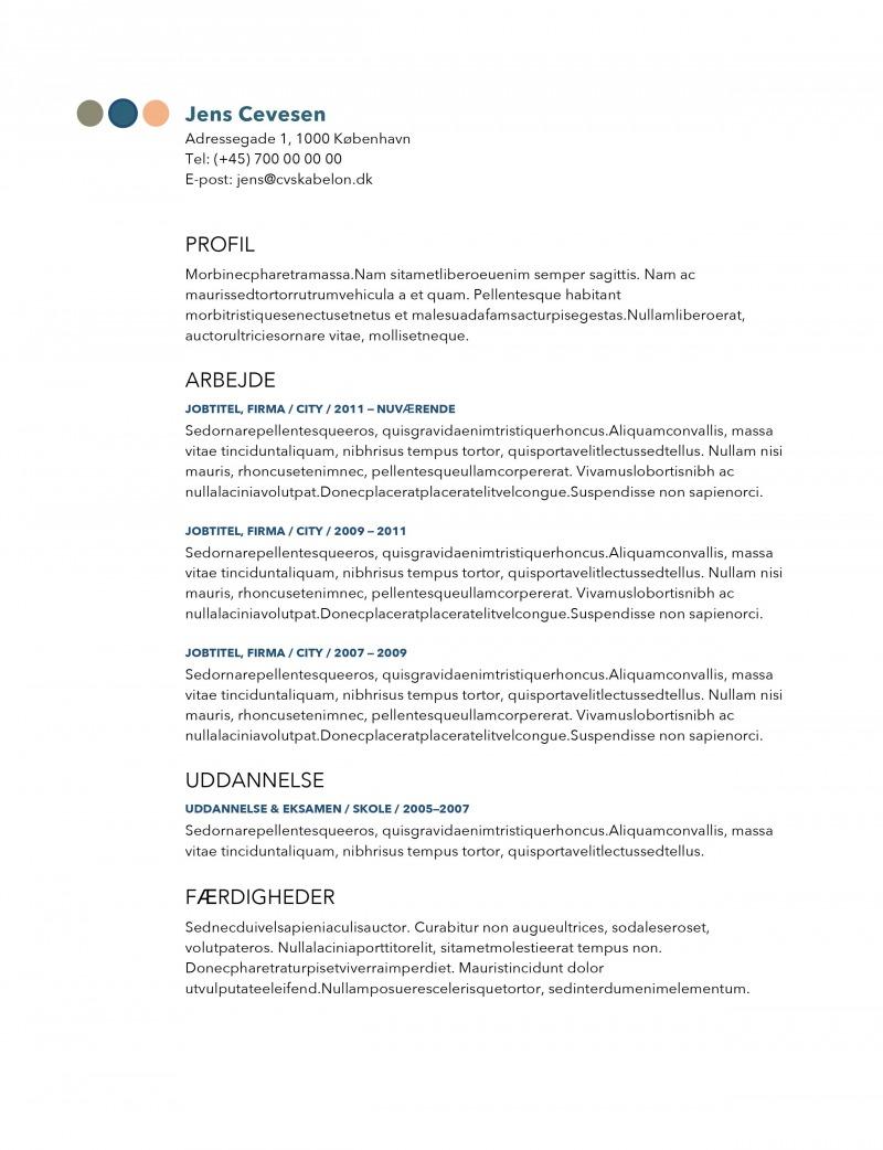 Simpelt og moderne CV skabelon