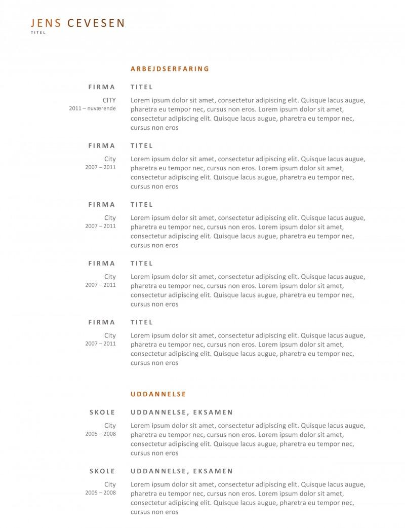 Simpelt CV skabelon