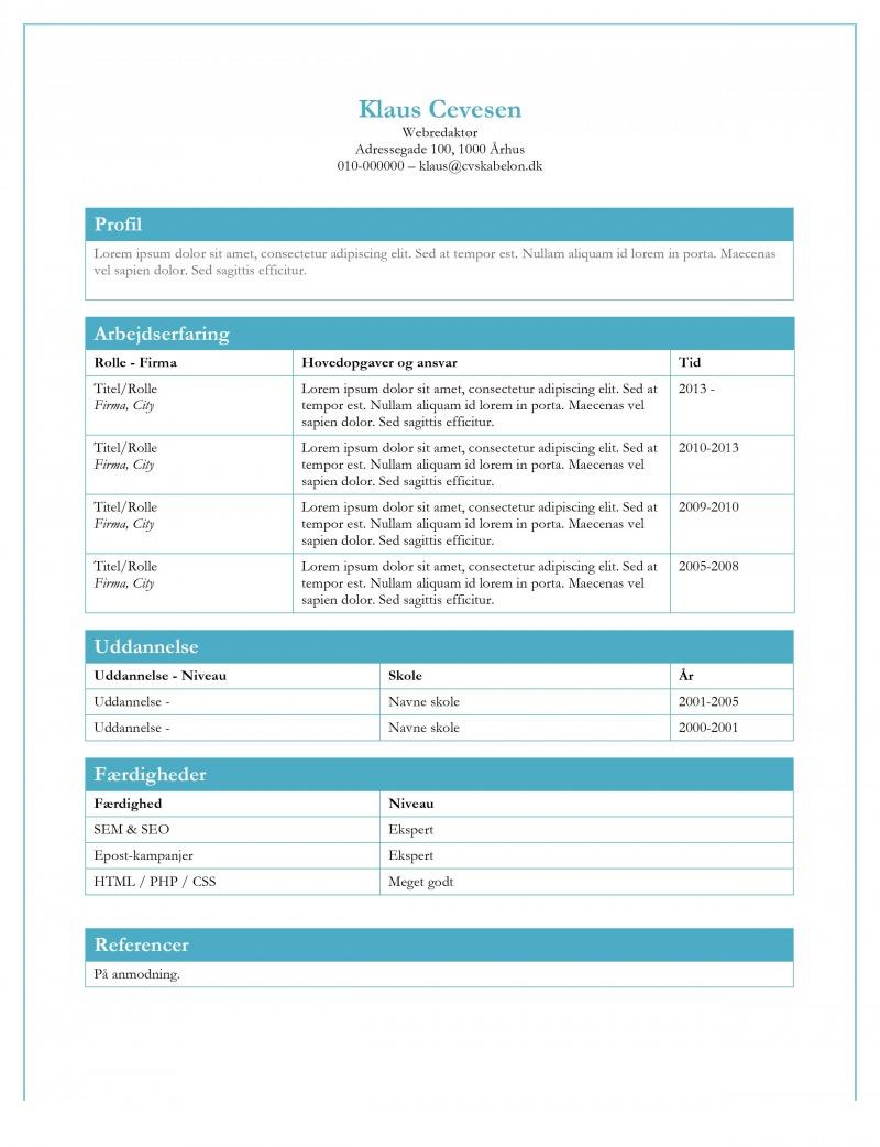 CV skabelon gratis