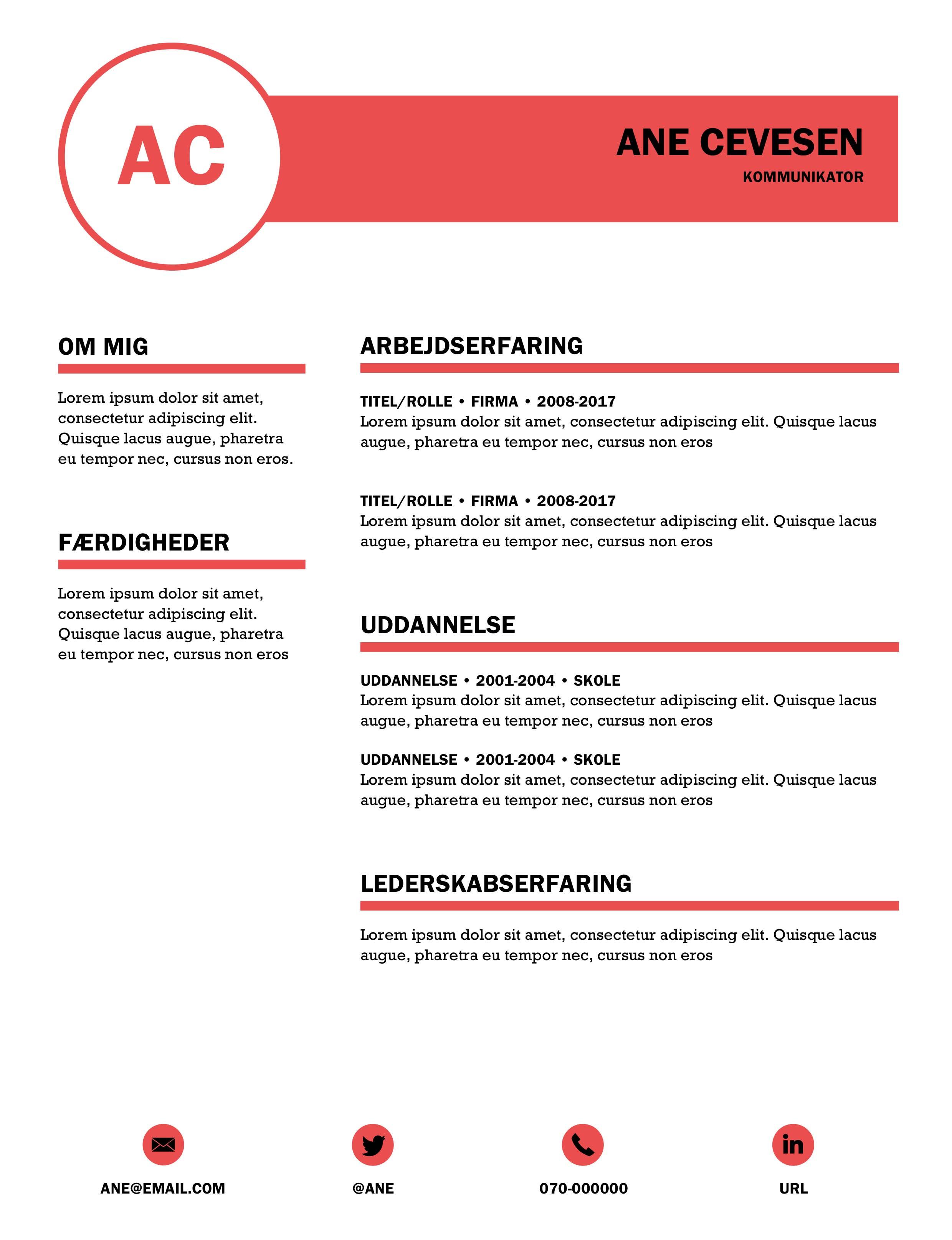Moderne CV skabelon