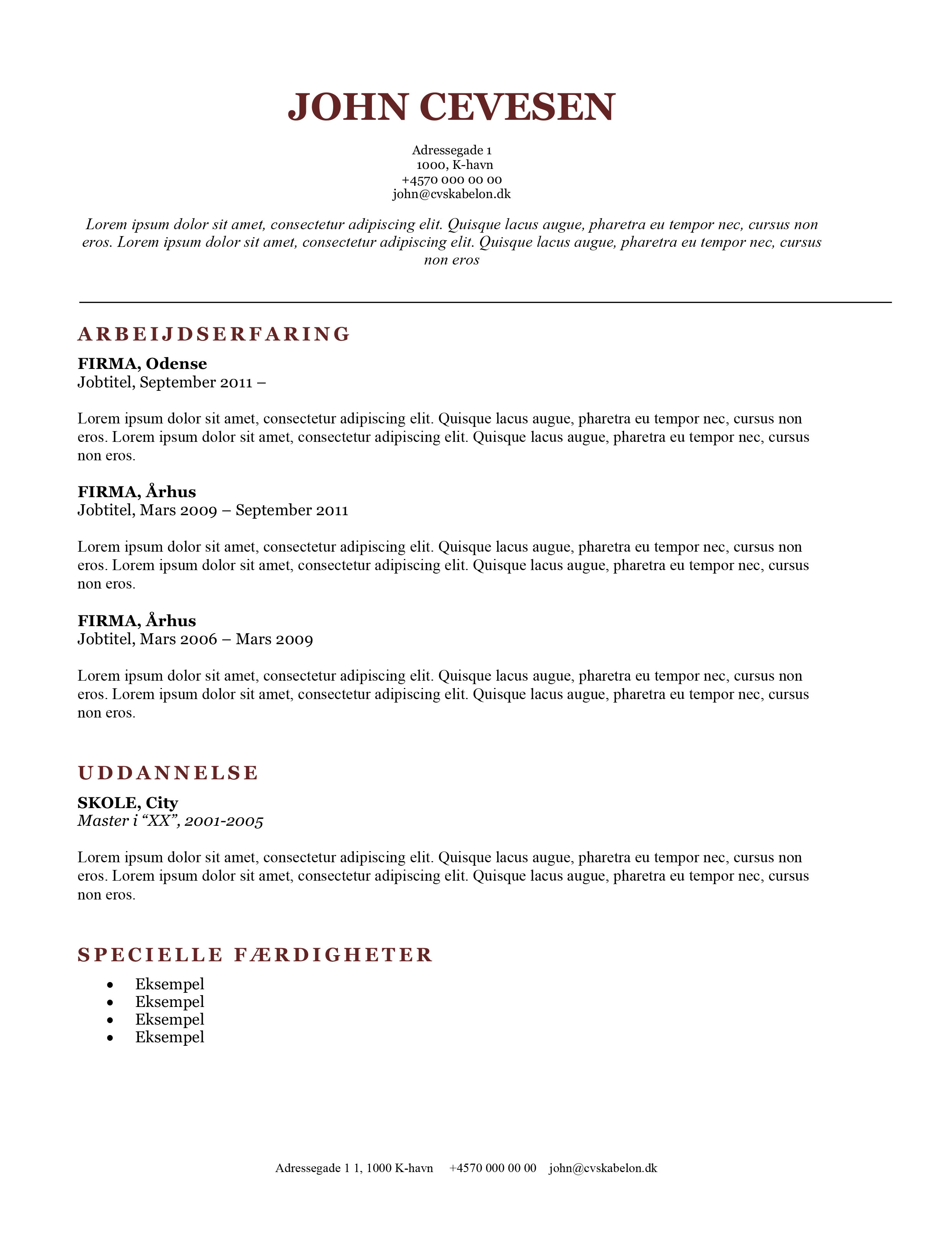 Klassisk CV skabelon